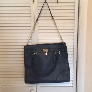 Navy large Justfab handbag chain purse